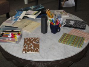 Journaling retreat supplies on table