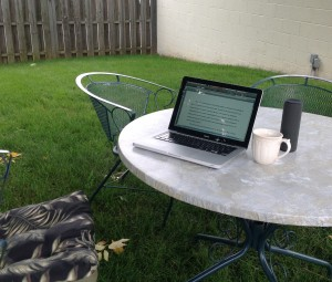 outside with speaker