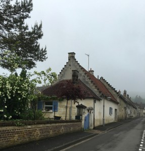 View on a misty morning on Rue des Croisettes, Trosly, France.