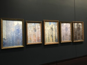 Series of five paintings of the Cathedral of Rouen each done at a different time of day by Claude Monet.