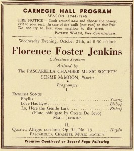 Photo of Carnegie Hall program for Florence Foster Jenkins