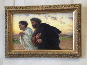 "Oil Painting, ""The Disciples Peter and John Running to the Sepulchre on the Morning of the Resurrection"" by Eugène Burnand 1898"