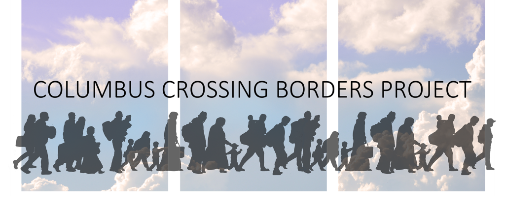 the logo for the Columbus Crossing Borders Project shows silhouettes of immigrants, men, women, and children, against a blue clouded sky.