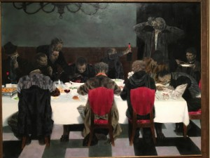 "The oil painting ""Supper"" by Joseph Hirsch shows twelve homeless men, shabbily dressed, sitting and eating at an lavishly set table."