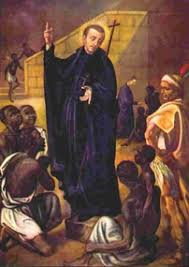 painintg of Saint Peter Claver surrounded by African slaves