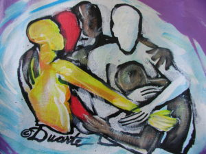 Abstract painting of people of all colors embracing